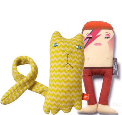 Ziggy cat & Bowie doll