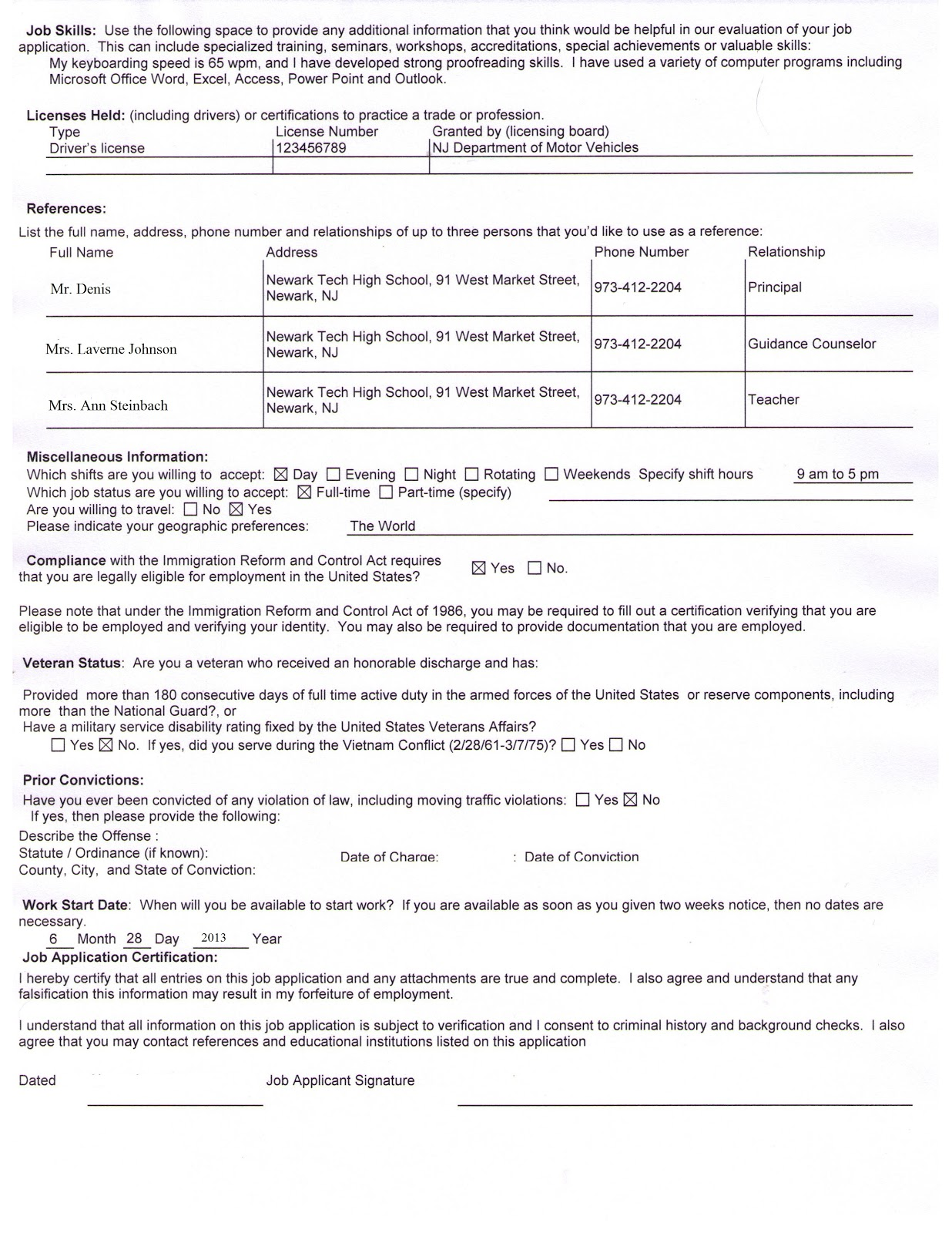 newark tech high school sample completed job application sample completed job application