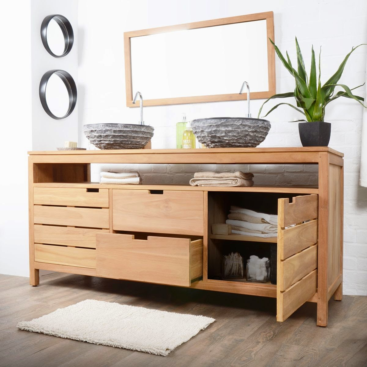 Meuble salle de bain bois 2 vasques meuble d coration maison for Meuble rangement salle de bain bois