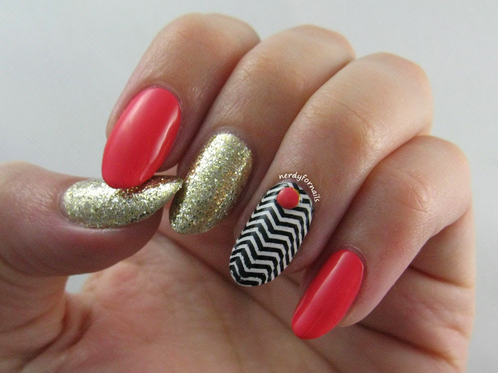 Coral Bundle Monster Stamping Chevron Skittlette with Studs