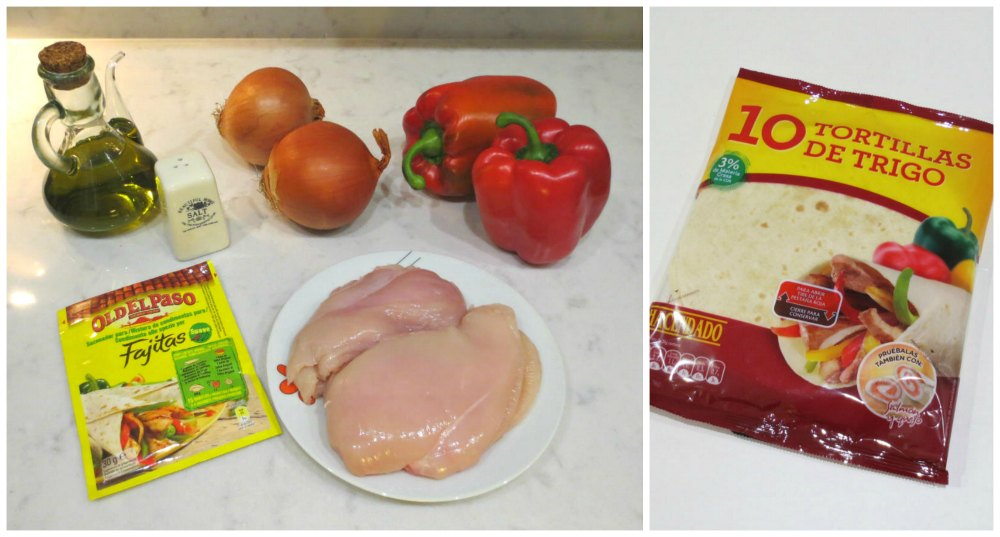Ingredientes fajitas de pollo
