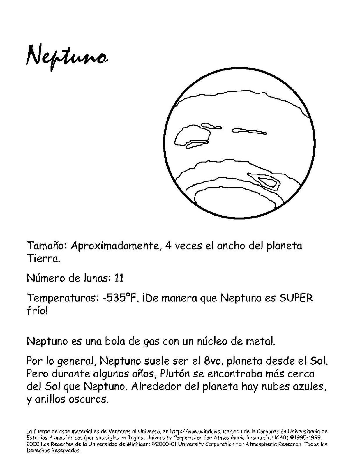 Dibujos para colorear el PLANETA NEPTUNO. Caracteristicas. | Dibujo ...