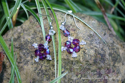 Tutorial of beaded earrings Purple Snowflakes made by Gunadesign