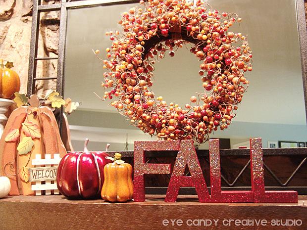 pumpkin decor, mantle decor, fall decorating, fall wreath, fall letters
