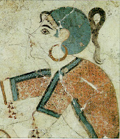 greek islands santorini - akrotiri ancient wall painting lady