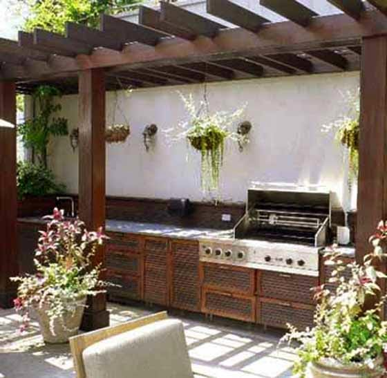 Contemporary Outdoor Kitchen: Modern Summer Kitchen And Pool In Backyard