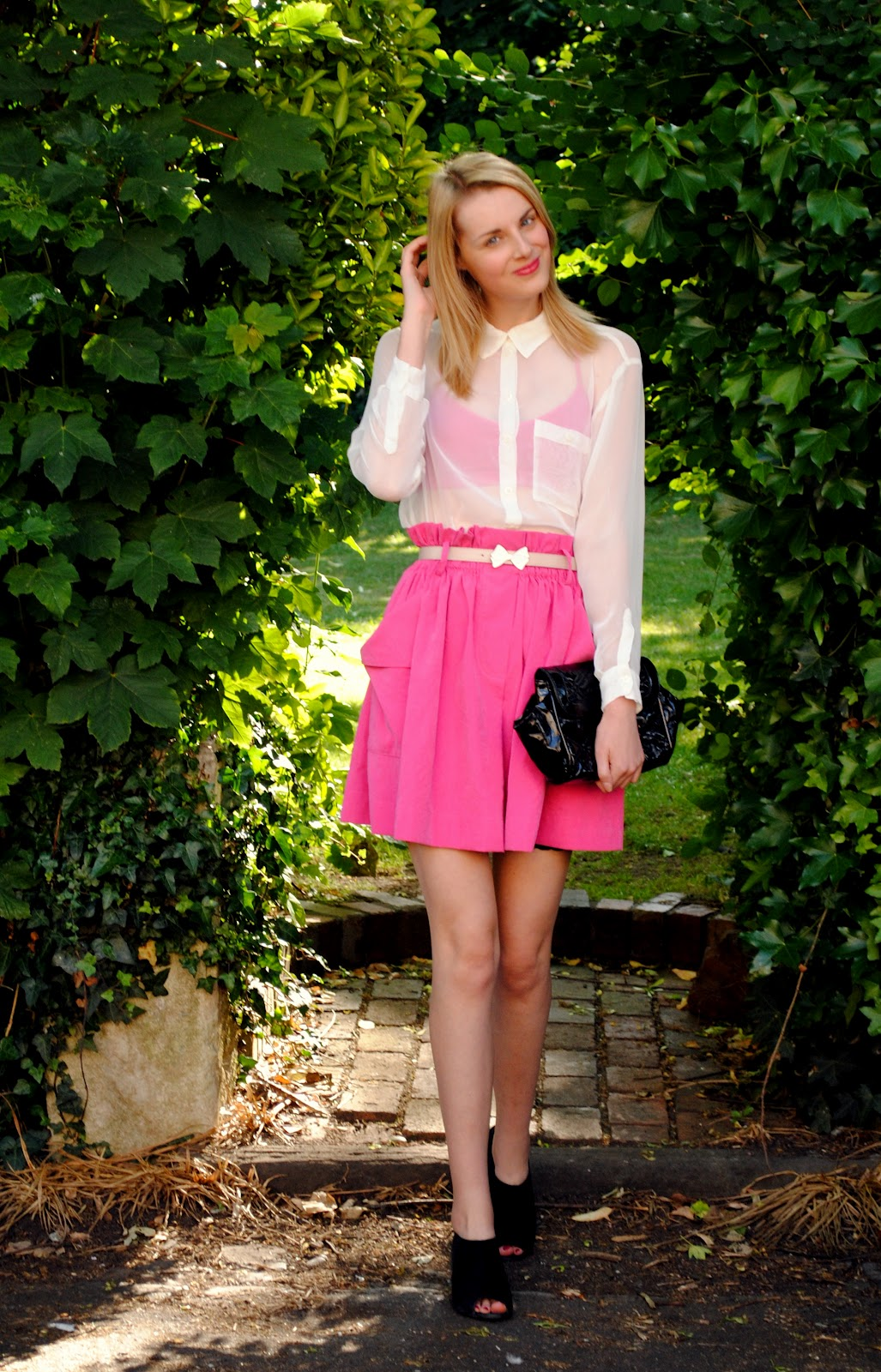 neon pink skirt
