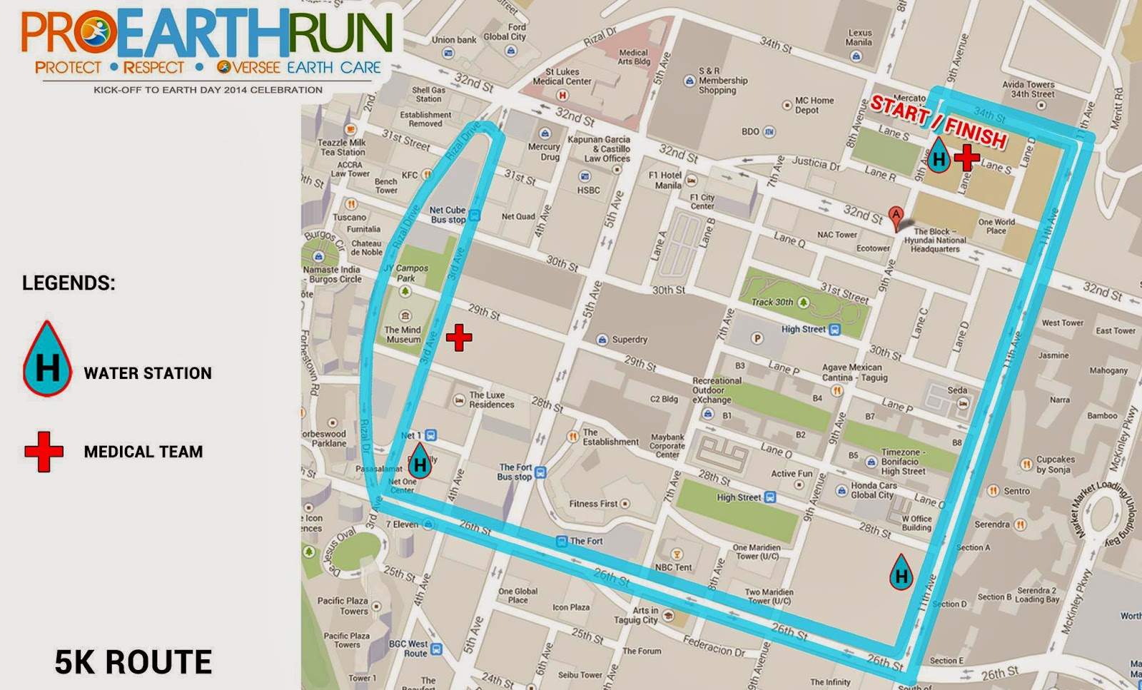 Map of 5k Route for Pro Earth Run 2014