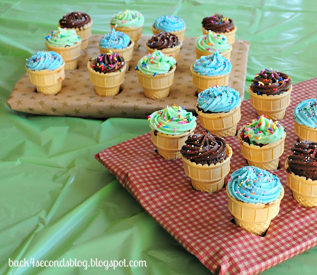 Fudge Brownie Ice Cream Cones (plus 2 frosting recipes)!  Perfect for any party - and super delicious! https://backforseconds.com  #icecream #brownierecipe #party