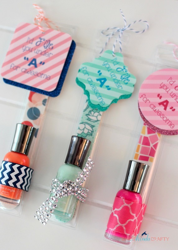 Other Fun Packaging Material Around The Nail Polish Bottle Attach Your Tags To File Using Either Tape Twine Or Ribbon And You Are Finished