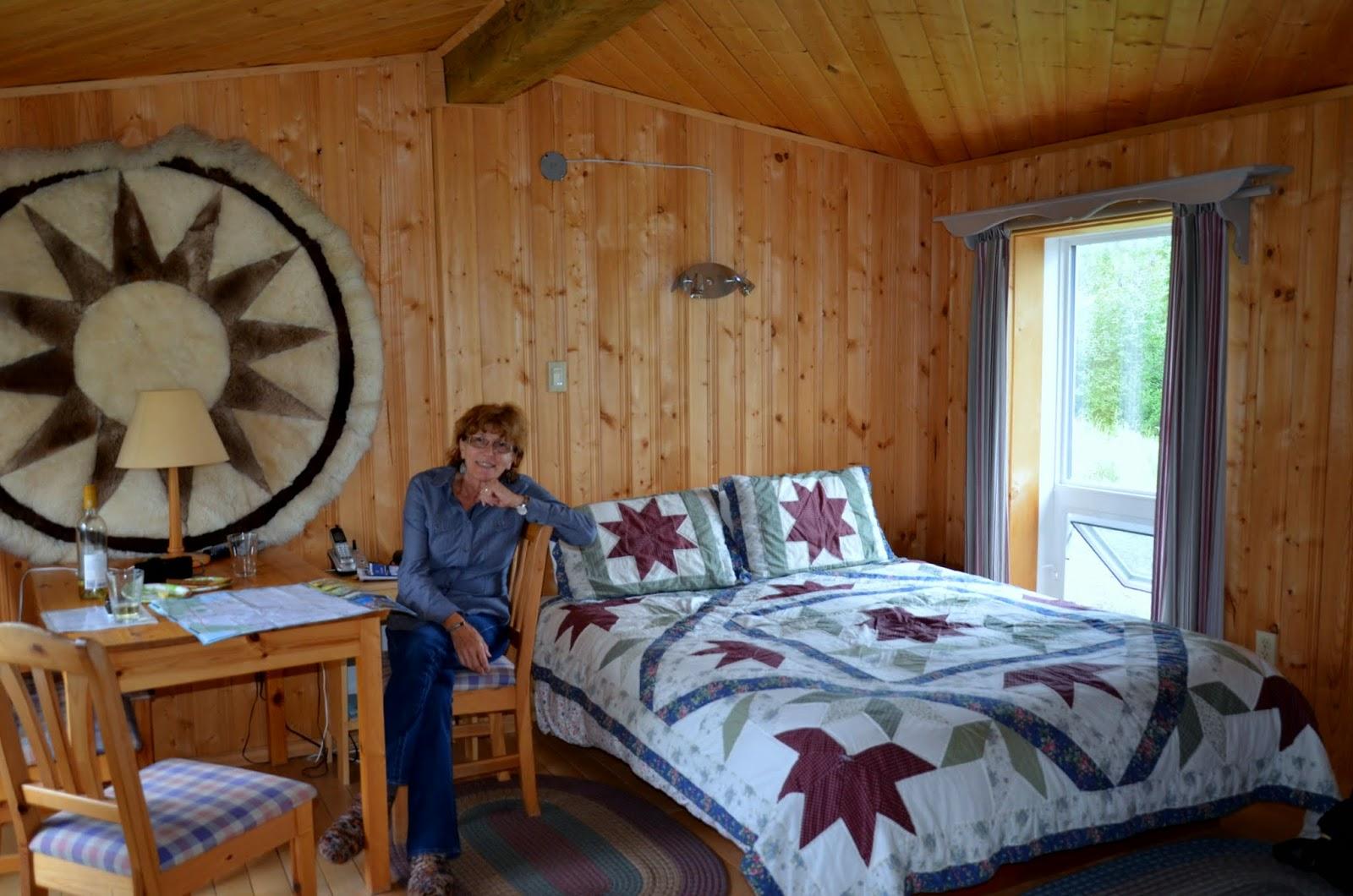 Liz inside cabin.
