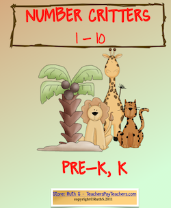 photo of Number Critters 1-10, Prek, K, math, student worksheets,