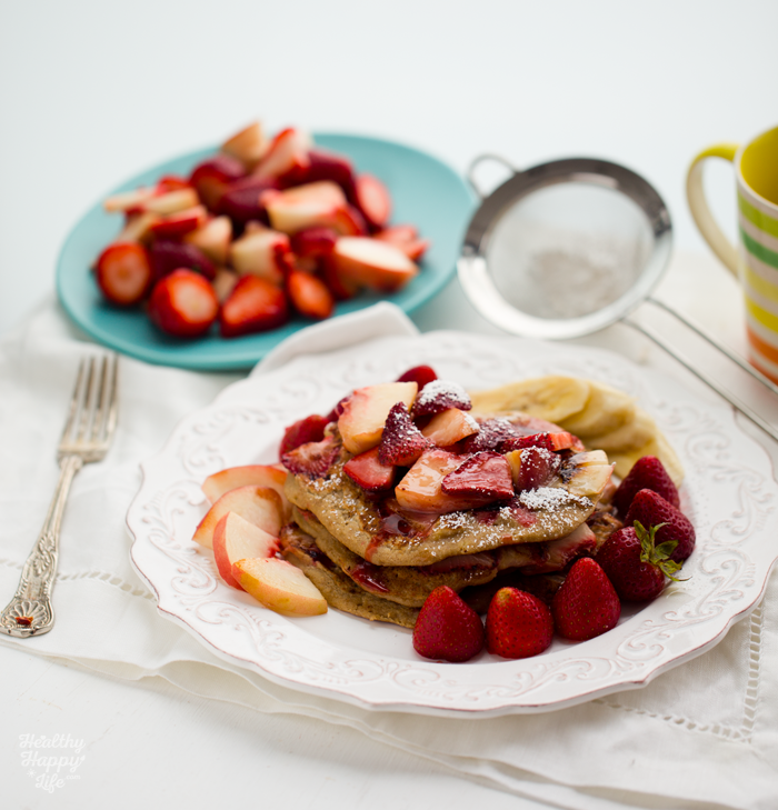 Strawberry-Peach Oatmeal Walnut Pancakes