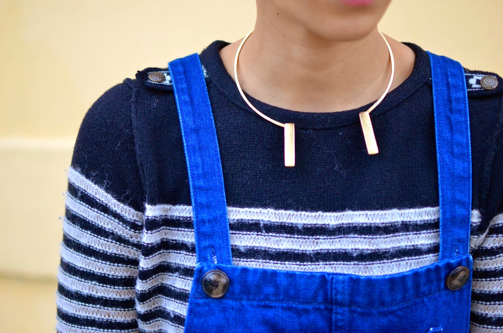 2Bandits necklace, striped sweater, denim overalls