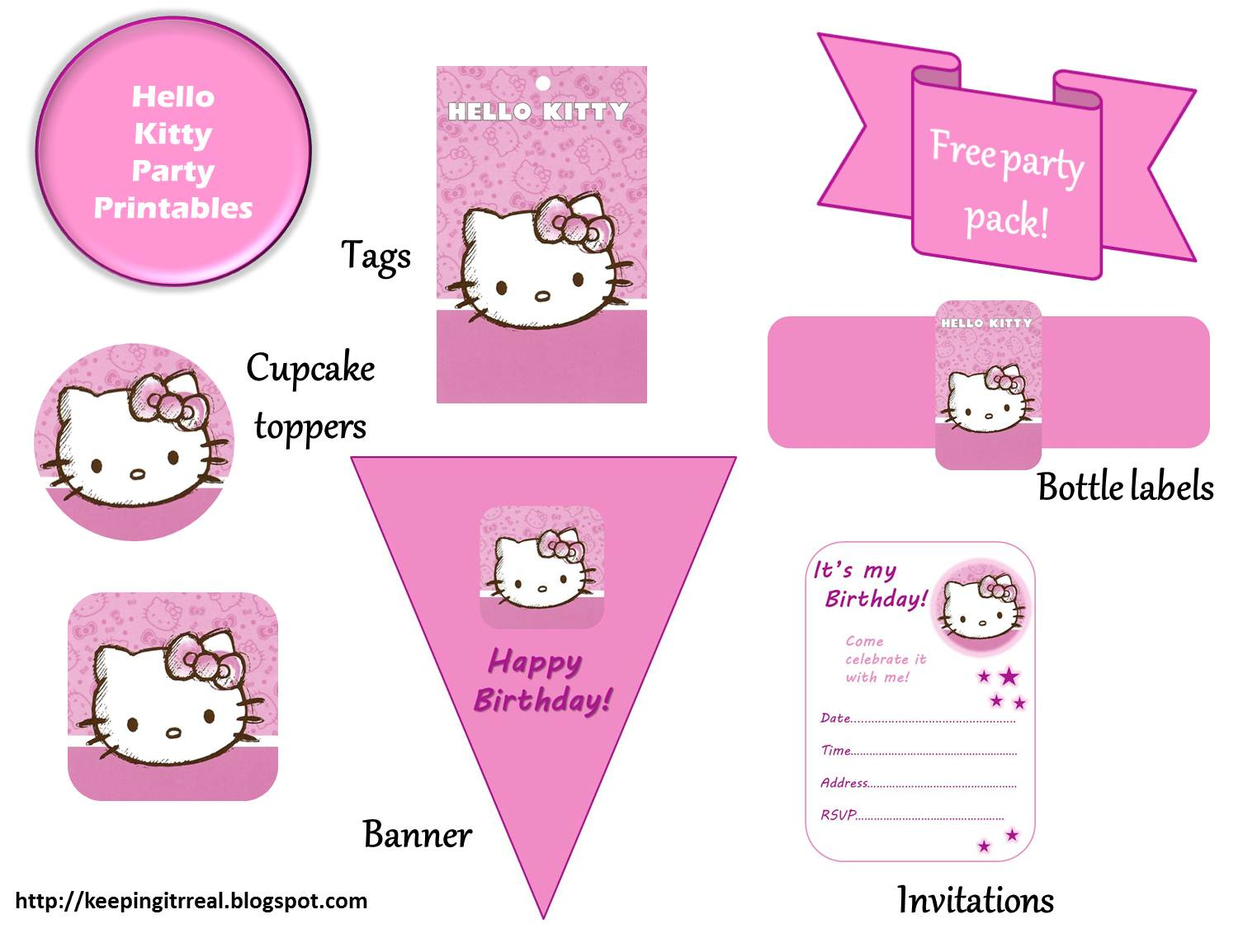 hello kitty party pack printables keeping it real that coupled the fact that the birthday girl in question loves hello kitty who doesn t prompted me to create these printables