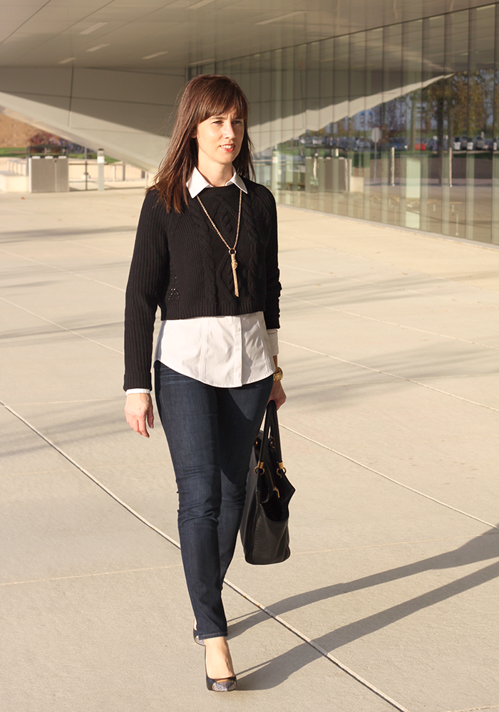 layered shirt under sweater, fall trends, kendra scott necklace, cable knit sweater, over 40 style, fashion over 40