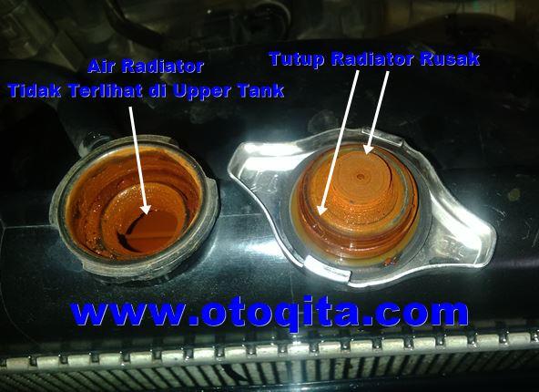 gambar tutup radiator kijang innova rusak dan air radiator habis