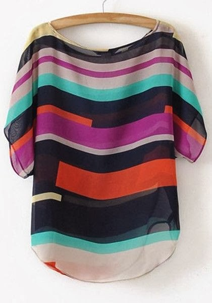 Multicolor Striped Round Neck Bat Sleeve Chiffon Blouse