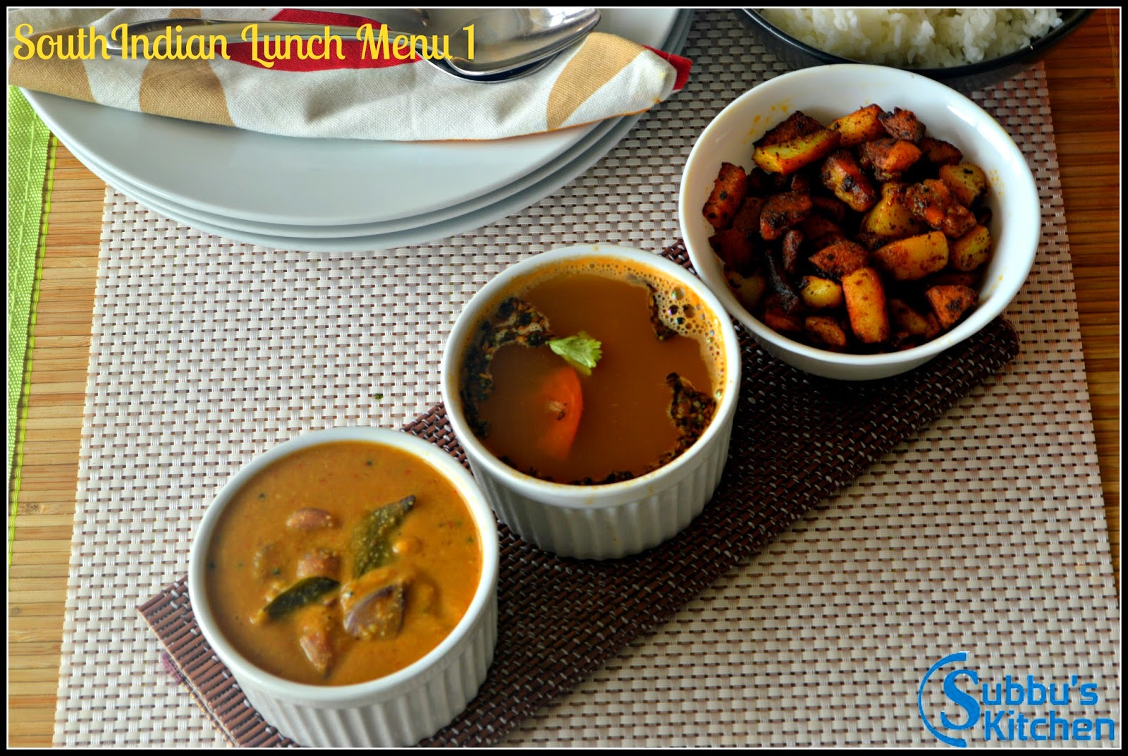 SouthIndian Lunch Menu Ideas  1 - Vengaya Sambar, Thakkali Rasam and Urulai Kara Curry