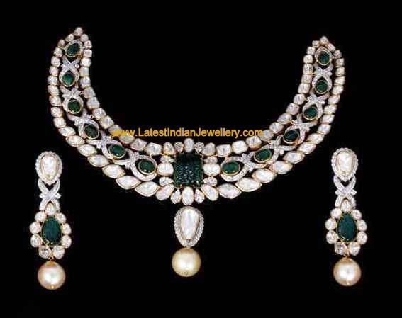 Polki Diamond Emerald Gold Necklace