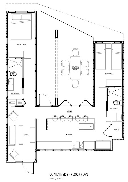 "Floor plan for a home using three shipping containers in a ""U ..."