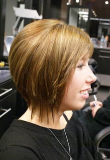 Short Angled Bob Haircut Back View