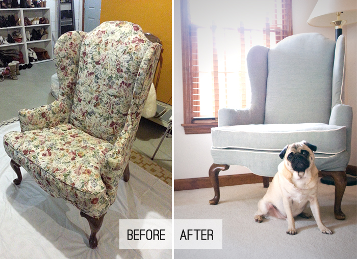 Googled  how to reupholster a wingback chair  on my phone   This is what I  found Jenny N  Design  DIY  Reupholster a Wingback Chair. Reupholster Chairs Diy. Home Design Ideas