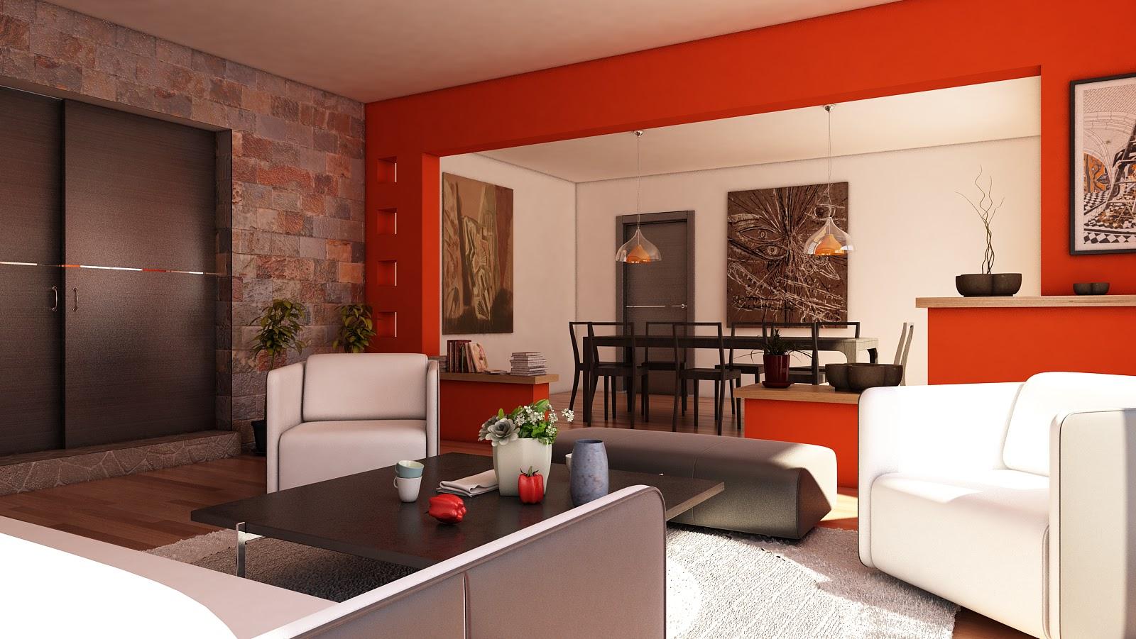 Sala de estar y comedor decoracion for Decoracion de interiores comedor