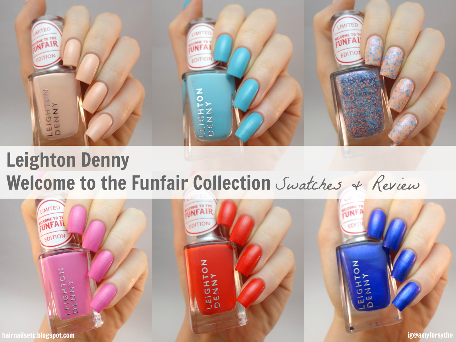 Leighton Denny Spring Summer 2015 'Ticket to Thrill' Nail Polish Swatches - www.hairnailsetc.blogspot.co.uk / instagram.com/amyforsythe