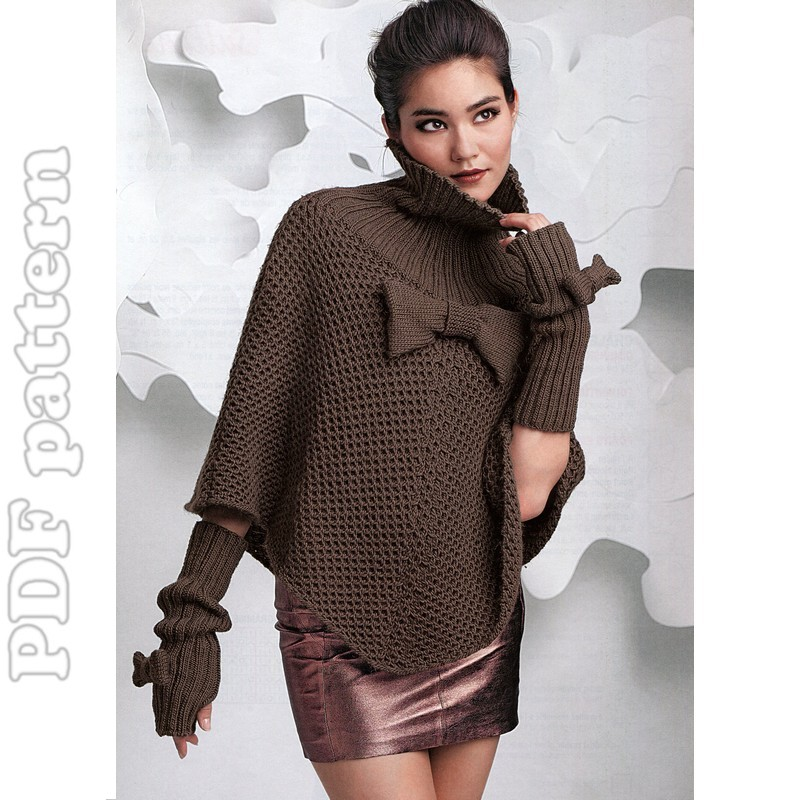 ENGLISH Poncho and Fingerless Gloves Knitting Pattern PDF ...