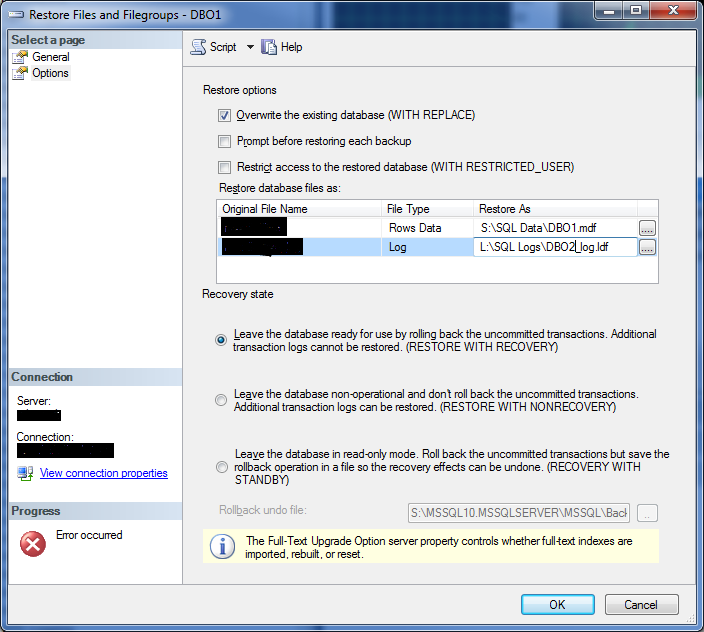 how to change database path in sql server 2014