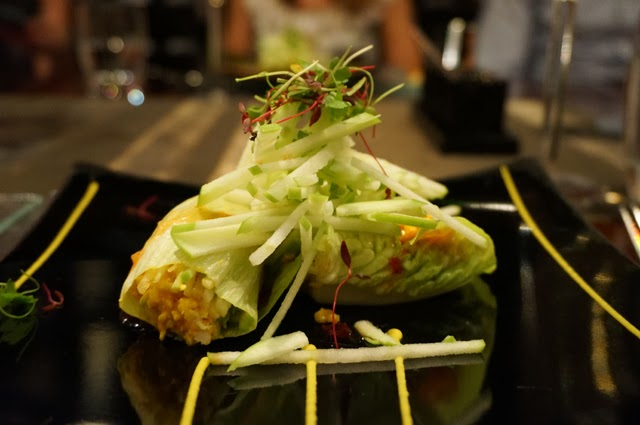 Amaya, Knightsbridge: Minced Chicken in Lettuce Parcels - coconut, lime leaf and ginger dressing via @littleswallow