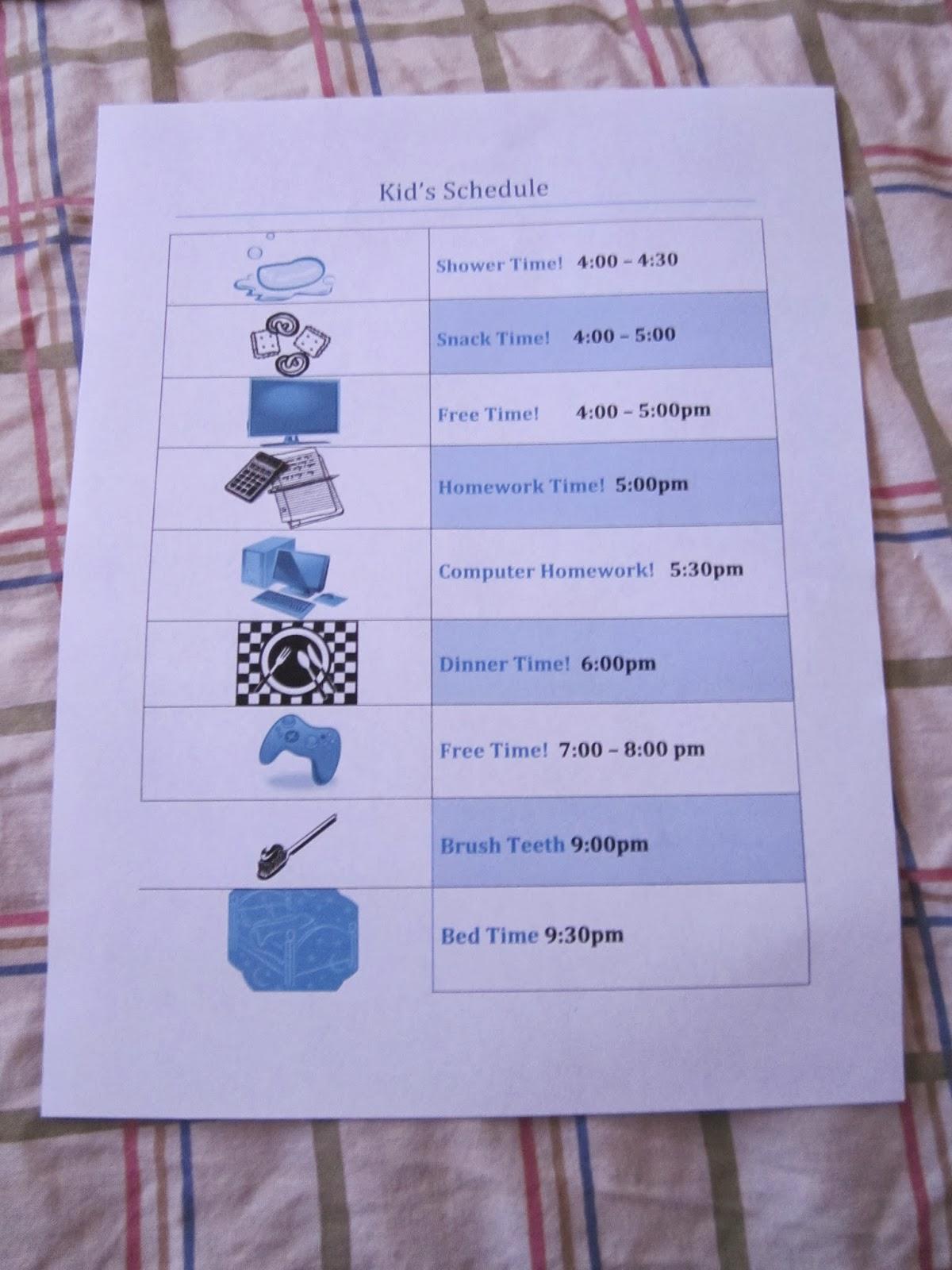 kids schedule, kids printable