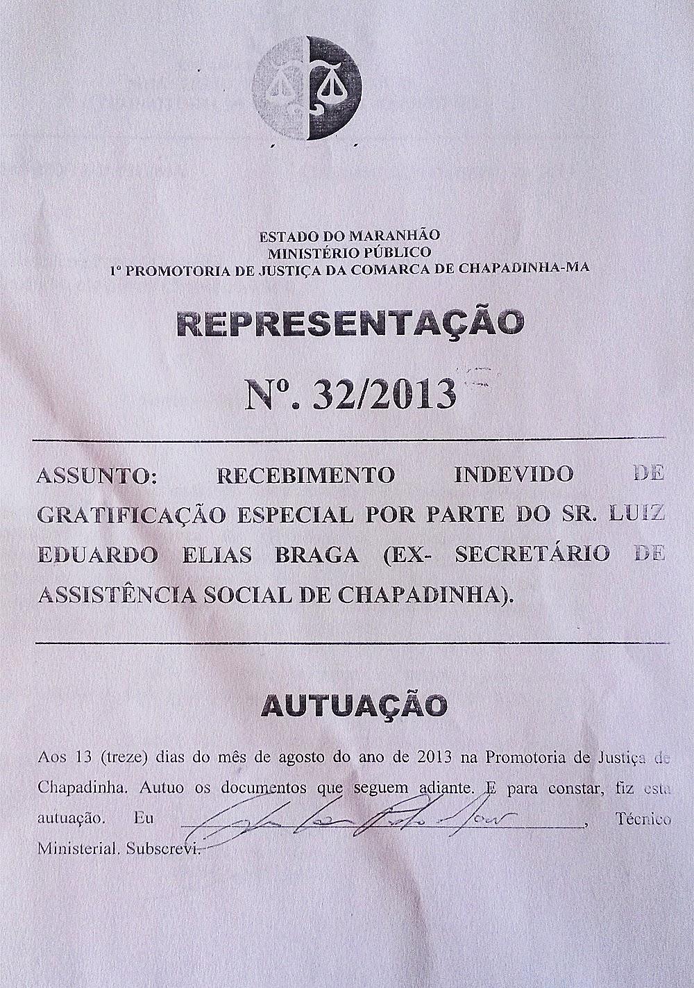 Chapadinha-MA: Gratificação ilegal - Representação no MP-MA