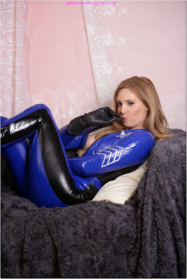 Hot Blonde in PVC Catsuit Police Woman Costume