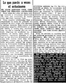 Recorte de Prensa sobre ajedrez de La Vanguardia, 24-12-1948