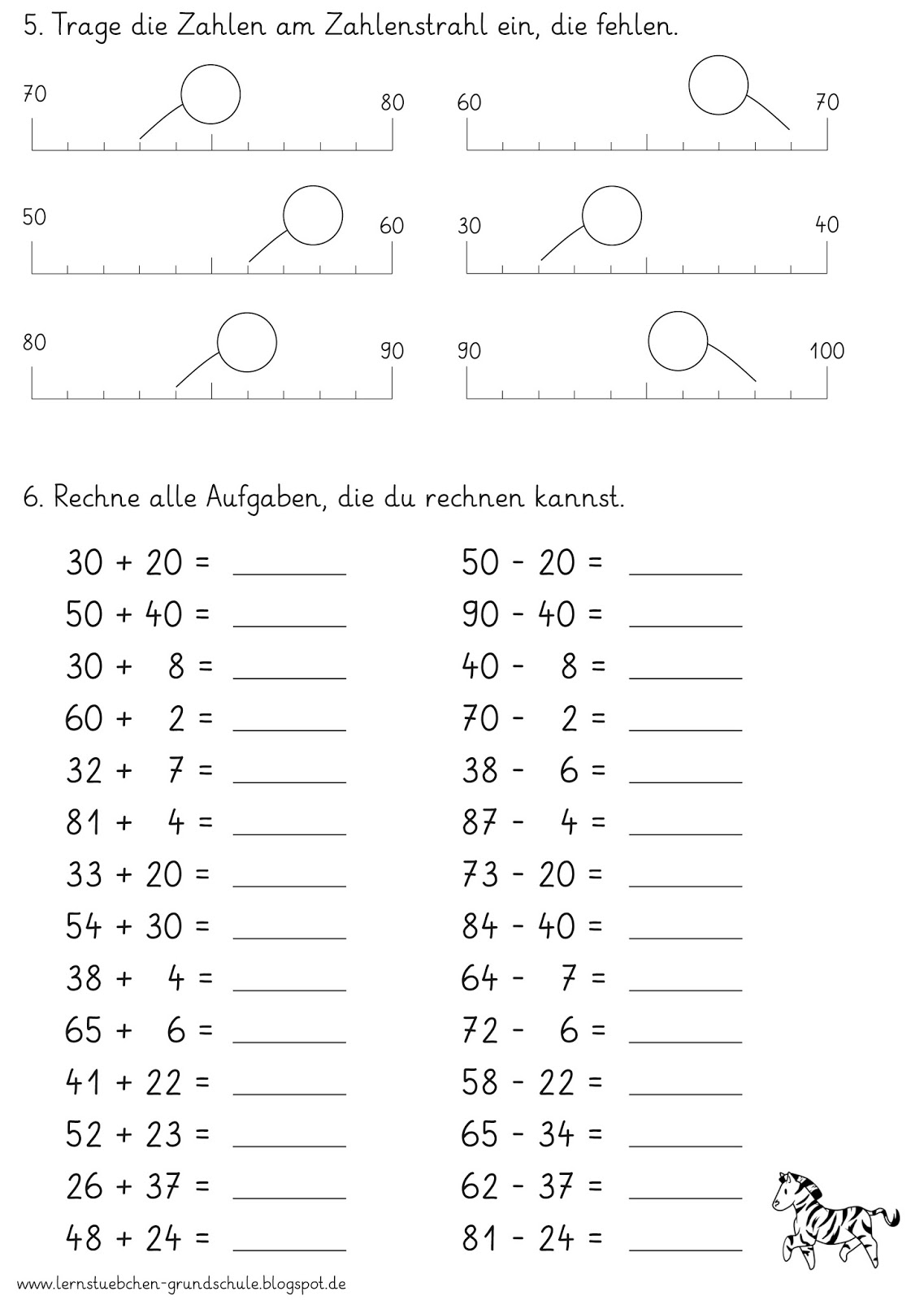 Lernstu00fcbchen: eine Standortbestimmung fu00fcr den ZR bis 100