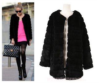 Trend Elegant Faux Fur Long Sleeved Long Coat Jacket