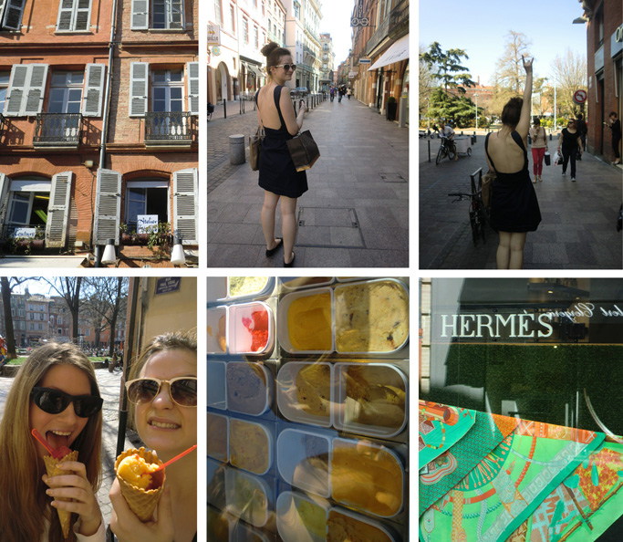 OOTD, outfit of the day, hermes scarf, spring, summer, cat eye sunglasses, ray ban, chic, french, city, backless dress, net-a-porter