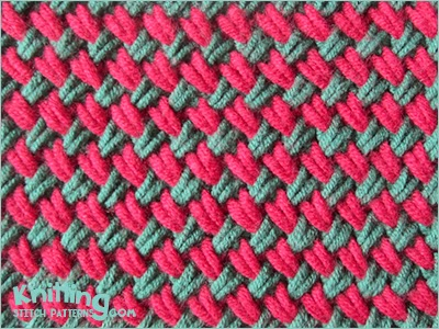 2 Color Knitting Patterns : Two-color Woven Plait stitch Knitting Stitch Patterns