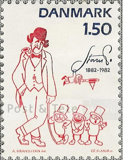 Jubilæums-frimærke for Storm P - Danmark 1,50 - De 3 små mænd og nummermanden