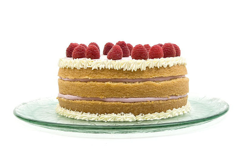 Naked raspberry cake front close up