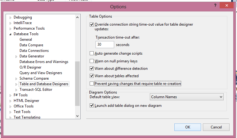 visual studio table and database