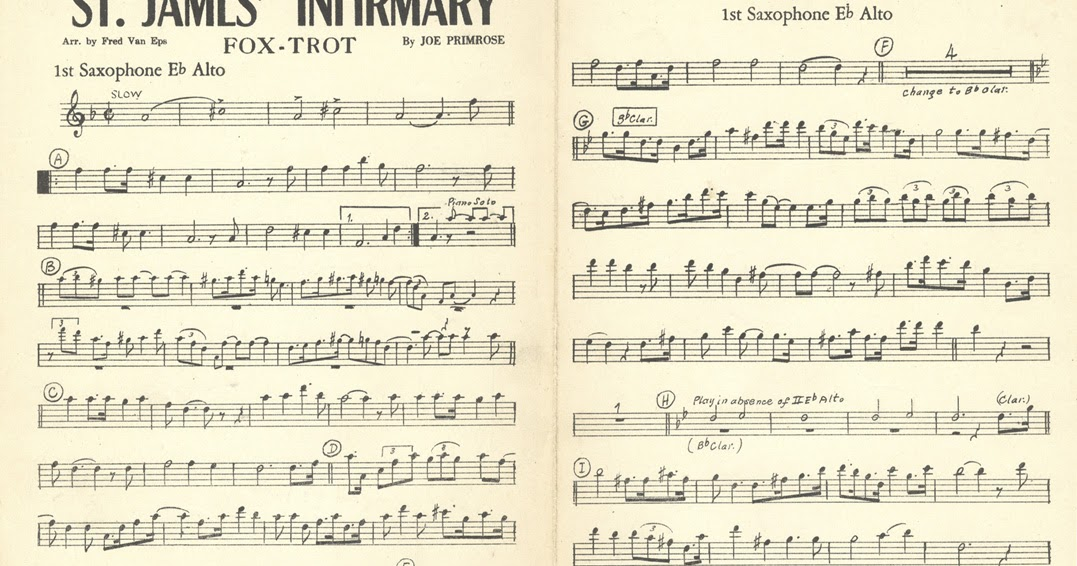 All Music Chords saxophone solo sheet music : I Went Down to St. James Infirmary: Saxophone sheet music for St ...