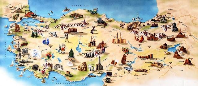 карта Турции достопримечательности