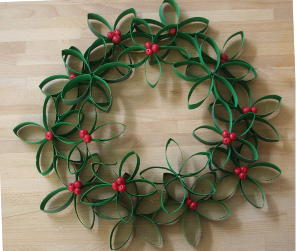 D co fait main couronne de no l en rouleaux de papier for Decoration de noel fait main