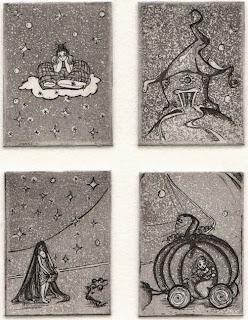 """Franziska Deregoski: Vier Miniaturen """"Es war einmal..."""", Strichätzung, Aquatinta"""
