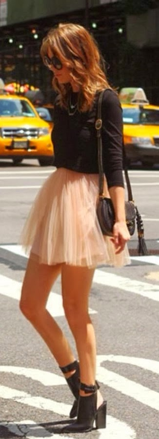 Tulle shirt and black sleeve top fashion