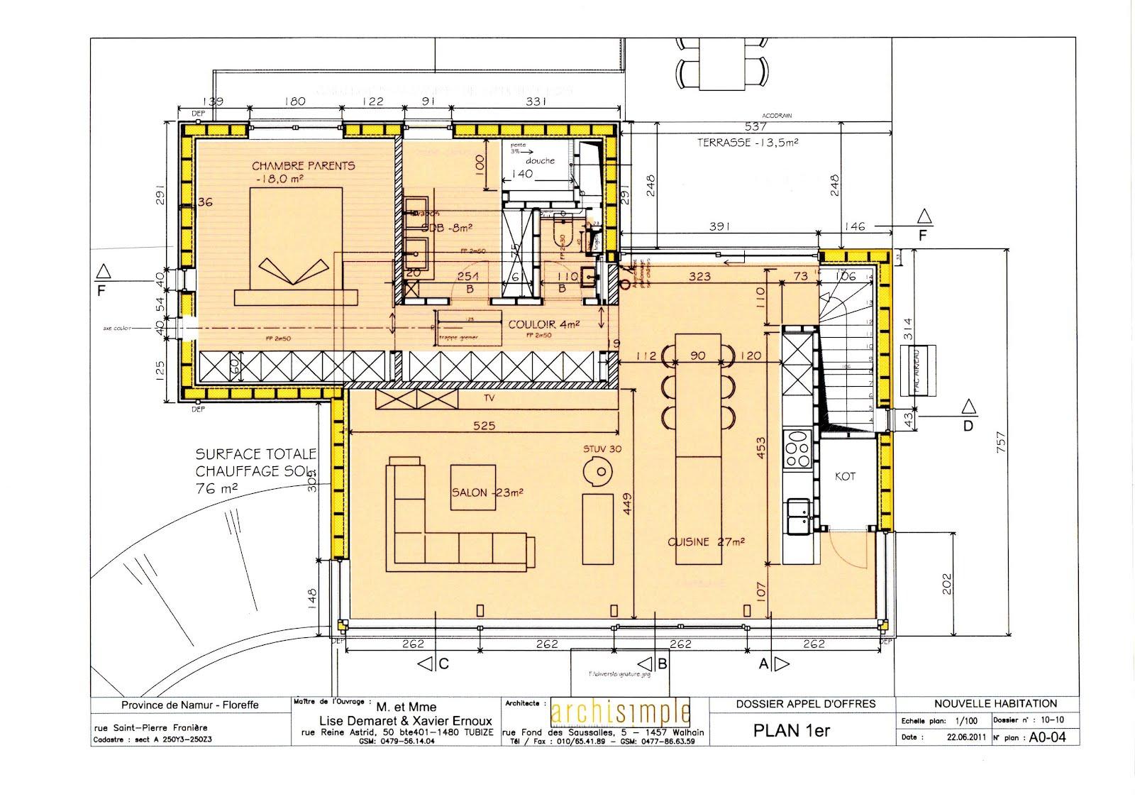plan maison etage 4 chambres 1 bureau