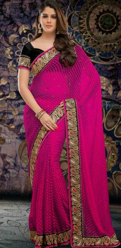 Brasso Magenta Designer Embroidery Saree with Unstitched Blouse